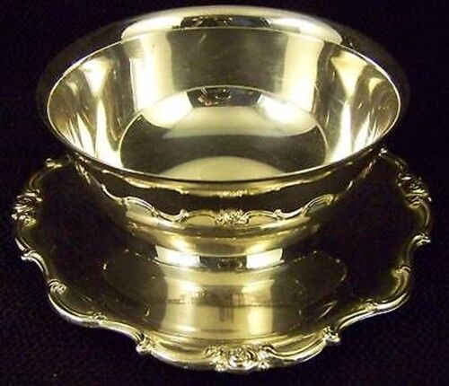 GORHAM SILVER RONDO GRAVY SAUCE BOAT WITH UNDER TRAY BOWL SERVING TRAY - MELROSE