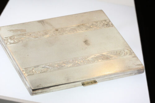 ANTIQUE 800 SILVER CIGARETTE CASE EMBOSSED FLORAL VINE DESIGN  HEFTY 142.4grams