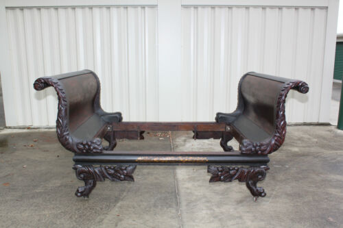 Monumental Rare New York Classical Empire Carved & Stenciled Sleigh Bed ~Ca.1825