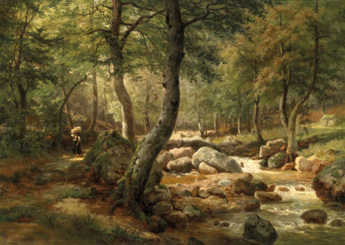 Dream-art Oil painting summer landscape creek crossing the forest woman canvas
