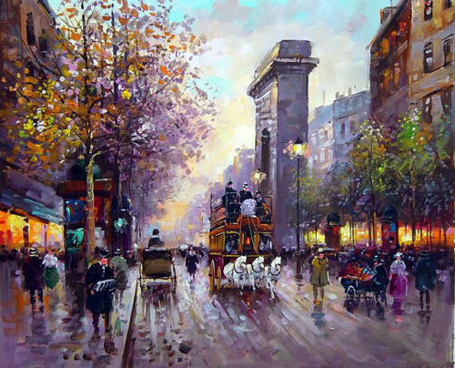 """Dream-art Oil painting Paris Street scene with Triumphal arch carriage 24""""x36"""""""