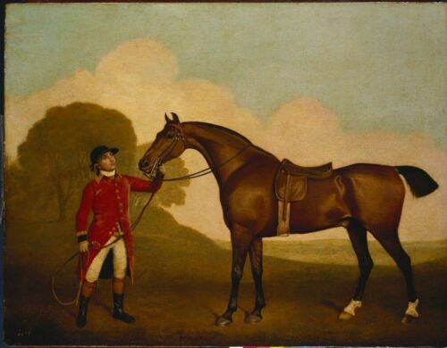 Oil painting A Bay Horse with a Groom George Stubbs man with red horse landscape