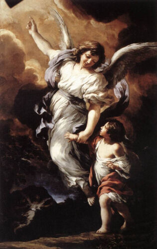 """Dream-art Oil painting child The Guardian Angel - Fly with me - Follow me 36"""""""