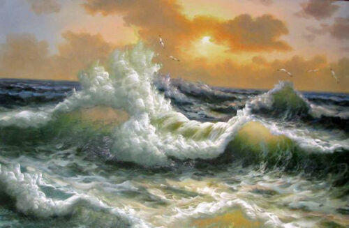 """Excellent art Oil painting seascape Huge waves with flying seabirds canvas 36"""""""