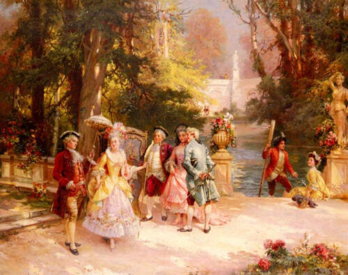 Dream-art Oil painting Cesare-Auguste Detti - The Castle Garden people by river