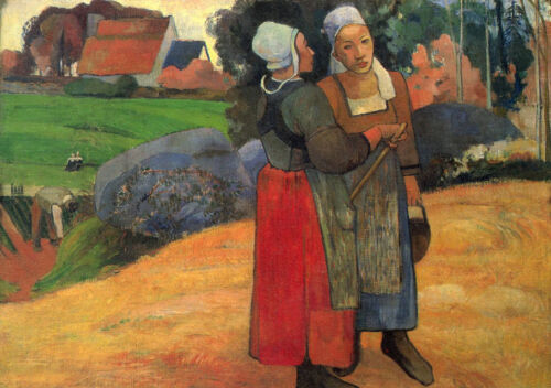 Oil painting Paul Gauguin - Brittany peasant in landscape canvas