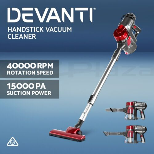 Devanti Handheld Vacuum Cleaner Stick Handstick Corded Bagless Ultra Light Red <br/> 15Kpa Strong Suction / Extendable Handle / Ultra Light