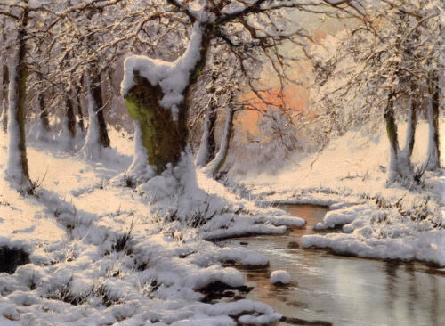 Dream-art art Oil painting beautiful winter snow landscape with stream in sunset