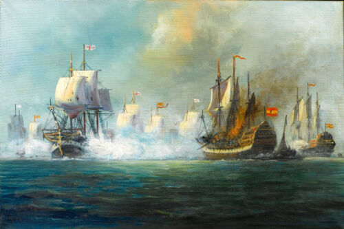 Dream-art hand paint Oil painting Seascape The Battle of Trafalgar with Warships