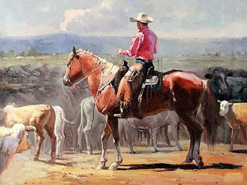"""Dream-art Oil painting cowboy ride red horse in field hand painted landscape 36"""""""