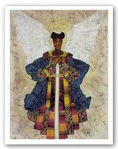 Angel Pearls by Alonzo Saunders African-American Signed Art Print 26x34