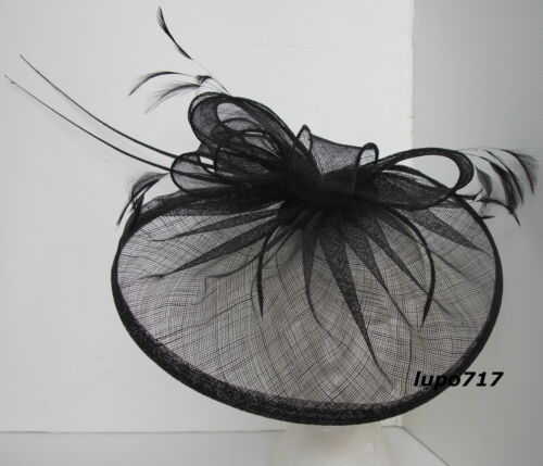 BLACK HAT SINAMAY FEATHER QUILL FASCINATOR WEDDING ASCOT RACE HEN PARTY NEW