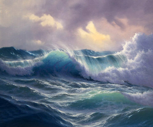 Dream-art Oil painting seascape ocean waves in sunset no framed FREE SHIPPING