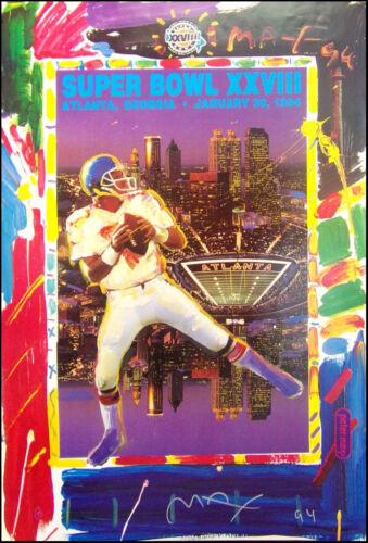 """Peter Max """"Super Bowl XXVIII"""" 1994 HAND SIGNED by P.Max poster Make an Offer!!"""