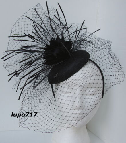BLACK HAT NETTING FEATHERS SINAMAY FASCINATOR WEDDING ASCOT RACE HEN PARTY NEW