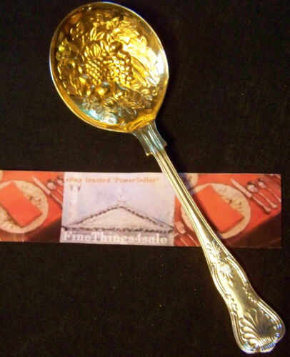 SHEFFIELD VICTORIAN SILVER WILLIAM ADAMS KINGS LRG ROUND BERRY SPOON GILDED BOWL