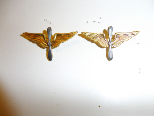 0116p pre WW2 1920s US Army Air Corps Officer's Collar Insignia pair IR30A10Reproductions - 156372