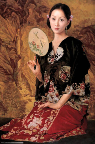"""Dream-art Oil painting beautiful Chinese young lady with fan on canvas 24""""x36"""""""