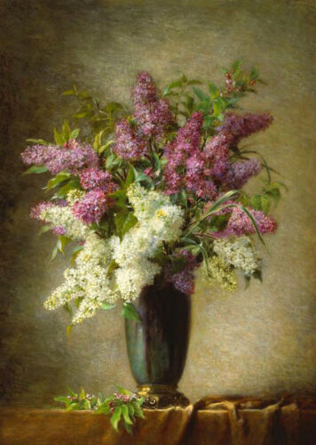 Dream-art Oil painting Martial Hupe A still life with lilacs in a vase on table