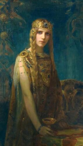 Oil painting Gaston Bussiere - Isolde beauty young fairy with The Holy Grail art