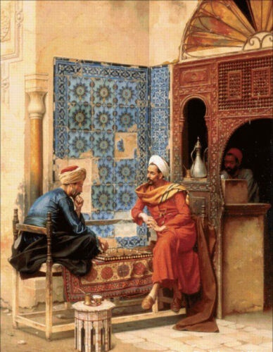 Huge art Oil painting Male portraits Arab people playing The Chess Game canvas