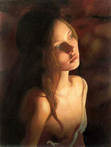 Dream-art Oil painting young girl in the Candlelight night hand painted canvas