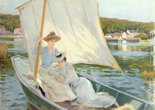 """No framed oil painting portraits young women boating on the lake in summer 36"""""""