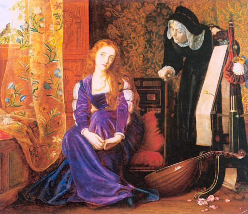 Oil Arthur Hughes - Girl The Pained Heart aka Sigh No More Ladies, Sigh No More