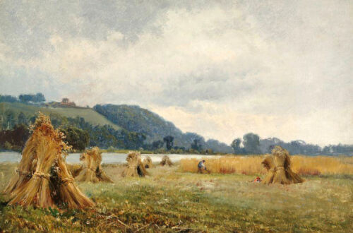 Oil painting busy farmers in harvest season in landscape by river canvas