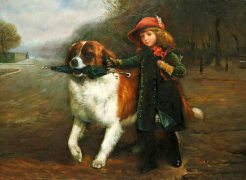 Oil painting lovely little girl with her friend dog holding Umbrella canvas 36""