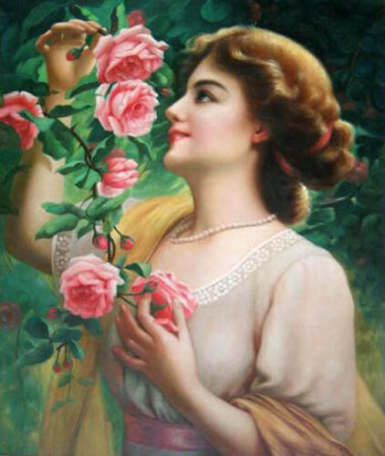 Dream-art Oil painting young female portrait lady with roses flowers canvas art