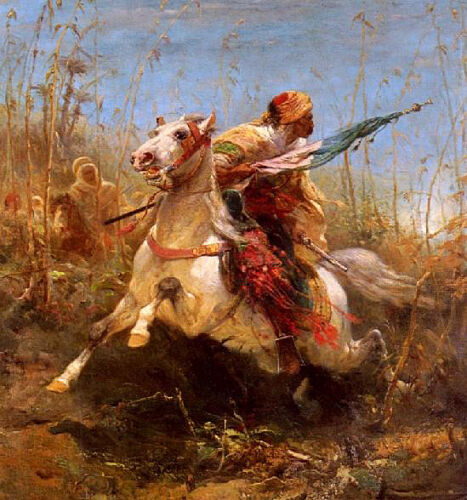 Dream-art Oil painting Arab Warrior Leading A Charge with white horse in field
