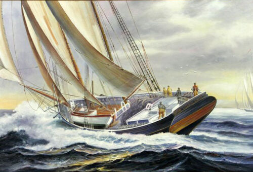"Dream-art Oil painting seascape big sail boats ship on ocean with storm 24""x36"""