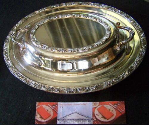 GORHAM NEWPORT CLASSIC STYLE SILVER DOUBLE ENTREE COVERED SERVER SERVING TRAY