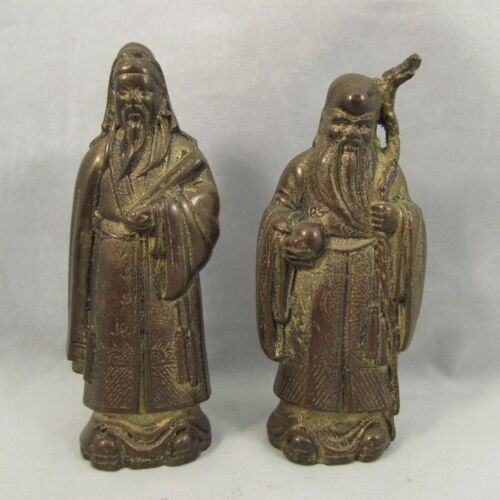 Antique Pair of Chinese bronze Gods sculptures Shou Lao and Fu 19th
