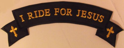 LARGE I RIDE FOR JESUS ROCKER PATCH - 12 INCHES - BLACK WITH GOLD CROSSESOther Militaria - 135