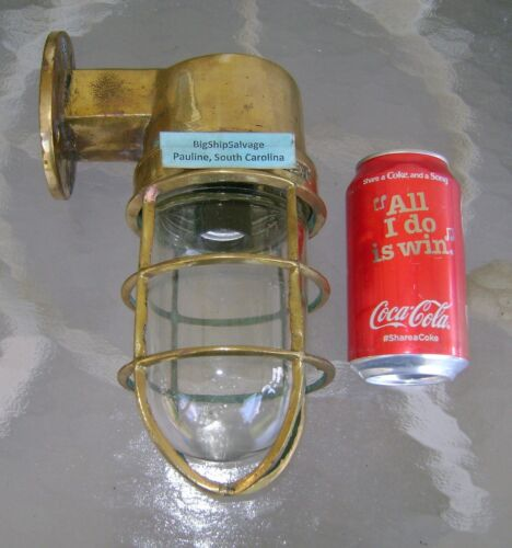 Great Lakes Recovered  Brass Nautical Bulkhead Ship Light - USA NEW WIRING!