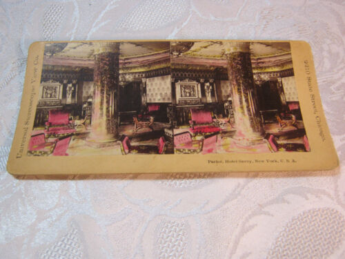 PARLOR HOTEL SAVOY NEW YORK STEREOVIEW CARD PHOTO ANTIQUE   T*