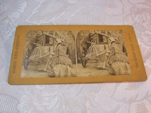 MAN WITH TOP HAT STANDING ON WAGON  STEREOVIEW CARD     T*
