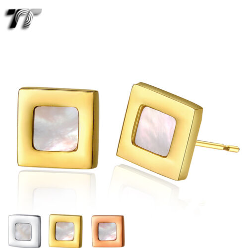 TT Stainless Steel Square Stud With Mother Pearl Earrings (EC76)