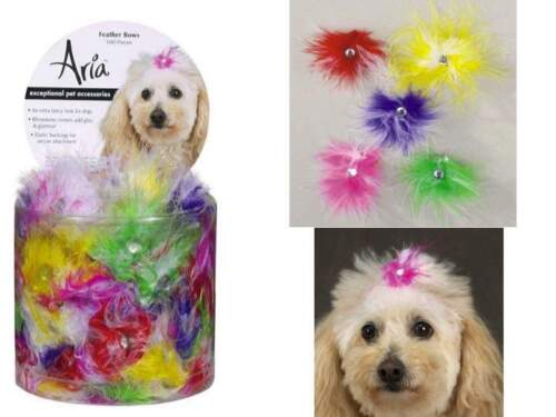 Feather Dog Puppy Grooming Bow - Aria - Canister Of 100 Bows - 5 Colors