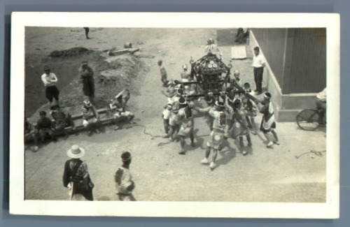 Japan, Young men carrying a chair  Vintage silver print.  Tirage argentique