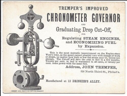 c1870s Trade Card, Tremper's Improved Chronometer Governor (Regulated Engines)