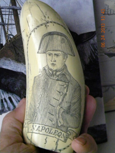 "Scrimshaw Sperm whale tooth resin replica "" NAPOLEON"" 7 inches long"