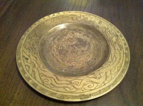 "China: Antique Brass - 10"" DIAMETER ETCHED DRAGON CHARGER / PLATE   141104010"
