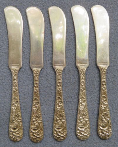 FOUR S. Kirk & Son Repousse Sterling Silver Butter Spreaders