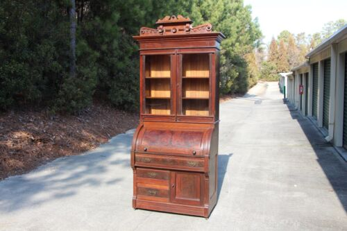 Tall Burl Walnut Victorian Cylinder Roll Secretary Desk Bookcase w Floral Crown