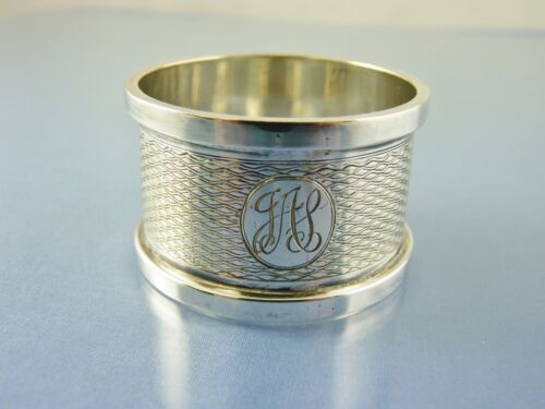 """ART DECO ROLLED EDGE STERLING NAPKIN RING BY H M BIRMINGHAM 1924 """"JAS"""""""