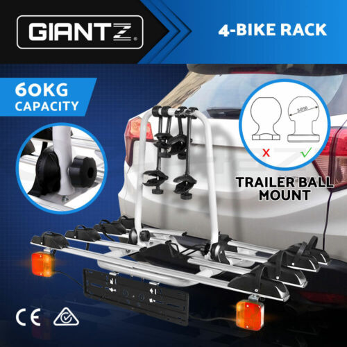 Giantz Bike Rack Carrier Bicycle Towbar Hitch Ball Mount Car Rear Rack 4Bicycles <br/> 1K+ Sold! Come with Number Plate Holder!4 Bikes,60KG.