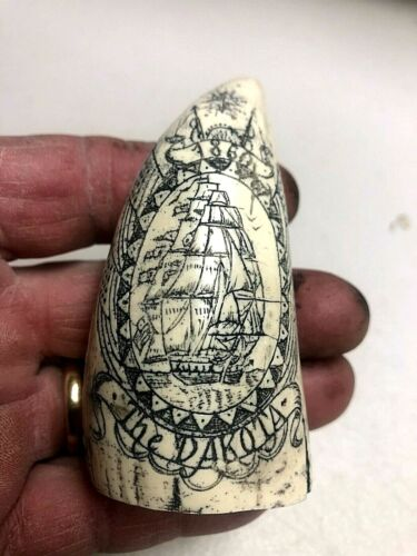 "SCRIMSHAW REPLICA TOOTH  "" DAKOTA"" OUT OF NANTUCKET"